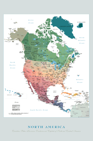 ... United States map and highlights countries, states, provinces